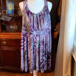 Sleeveless purple flower printed dress